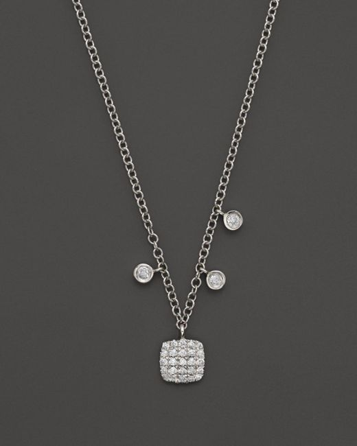Meira T 14k White Gold Square Pavé Diamond Disc Necklace