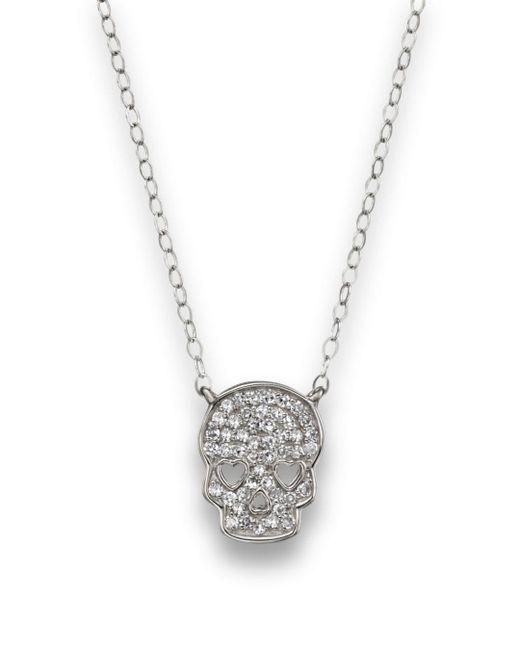 Bloomingdale's Micro Pavé Diamond Skull Pendant Necklace In 14k White Gold