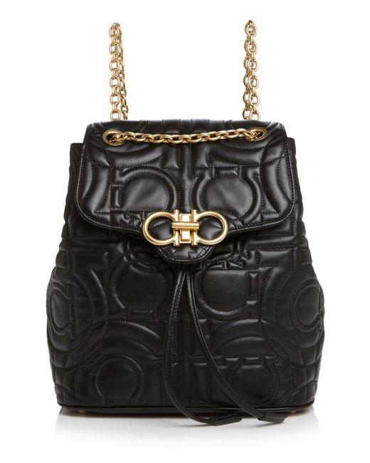 Ferragamo - Black Medium Quilted Leather Backpack - Lyst