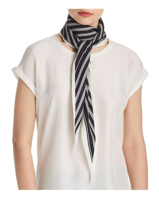 Rag & Bone - Black Striped Silk Skinny Scarf - Lyst