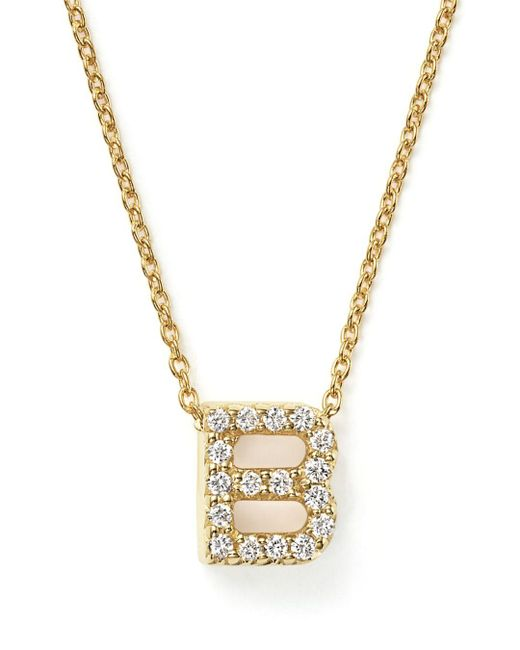 Roberto Coin Metallic 18k Yellow Gold And Diamond Initial Love Letter Pendant Necklace
