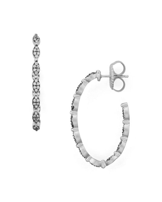 Freida Rothman   Metallic Pavé Hoop Earrings   Lyst