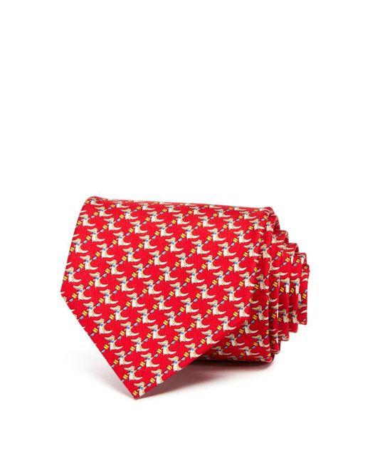 Ferragamo | Red Happy Crocodile Classic Tie for Men | Lyst