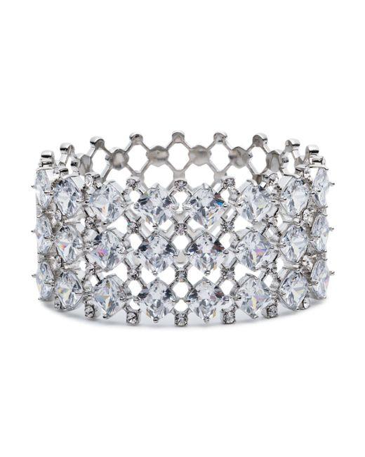 Carolee | Metallic Silver-tone Crystal Hinged Cuff Bracelet | Lyst