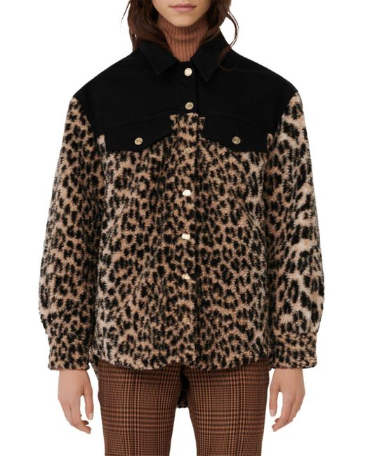 Maje Black Bamion Cat Print Fleece Jacket