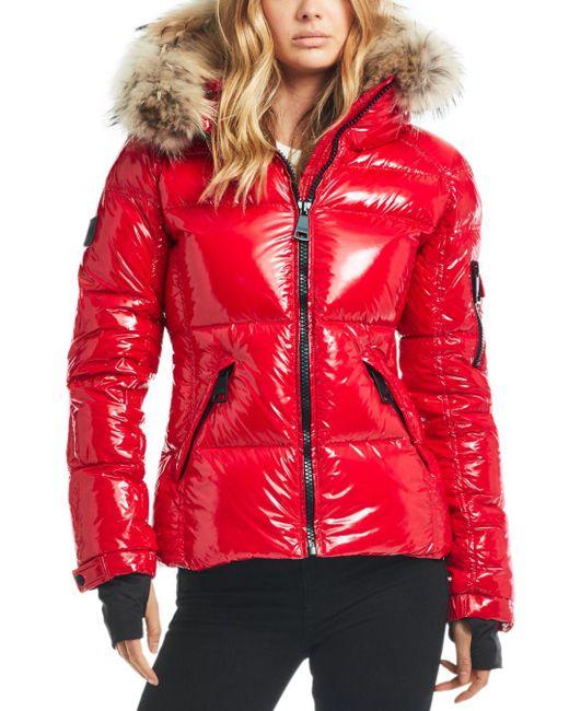 Sam. Red Blake Fur - Trim Down Coat