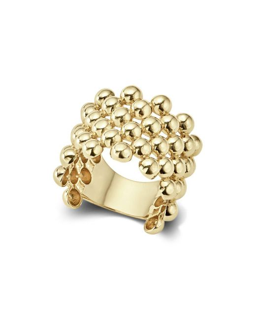 Lagos - Metallic Caviar Gold Collection 18k Gold Wide Beaded Ring - Lyst