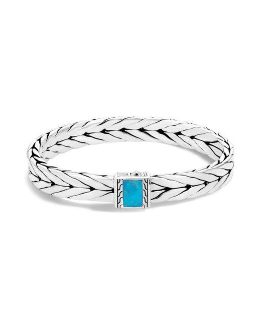John Hardy | Metallic Sterling Silver Modern Chain Turquoise With Black Matrix Bracelet | Lyst