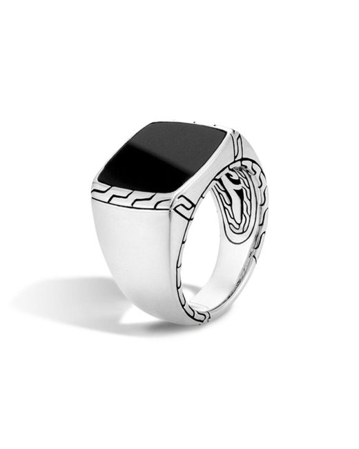 John Hardy Batu Classic Chain Sterling Silver Signet Ring With Black Jade for men