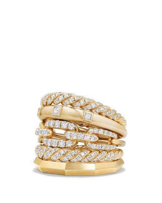 David Yurman - Metallic Stax Five Row Ring With Diamonds In 18k Gold - Lyst