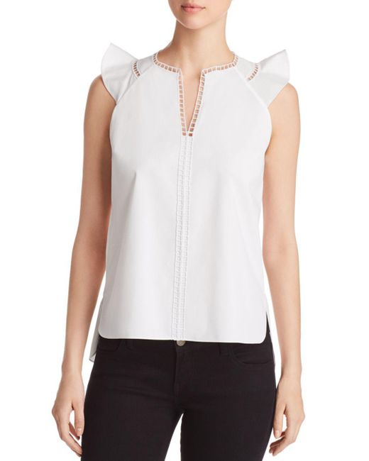 Elie Tahari - White Lavita Ladder Trim Top - Lyst