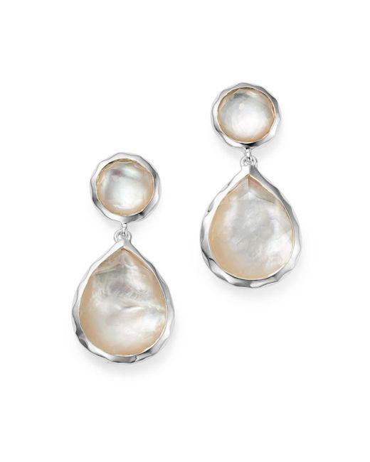 Ippolita Metallic Sterling Silver Rock Candy Snowman Post Earrings In Mother - Of - Pearl