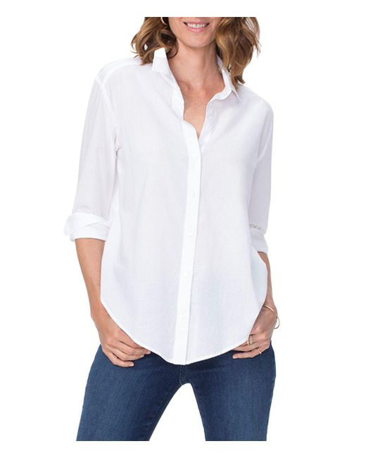 NYDJ - White Lawn Button Down Shirt - Lyst