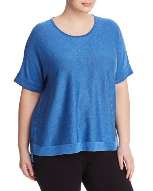 Eileen Fisher - Blue Lightweight Short-sleeve Sweater - Lyst
