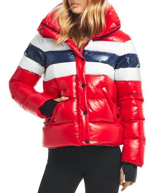 Sam. Red Lindsey Color - Blocked Short Down Coat