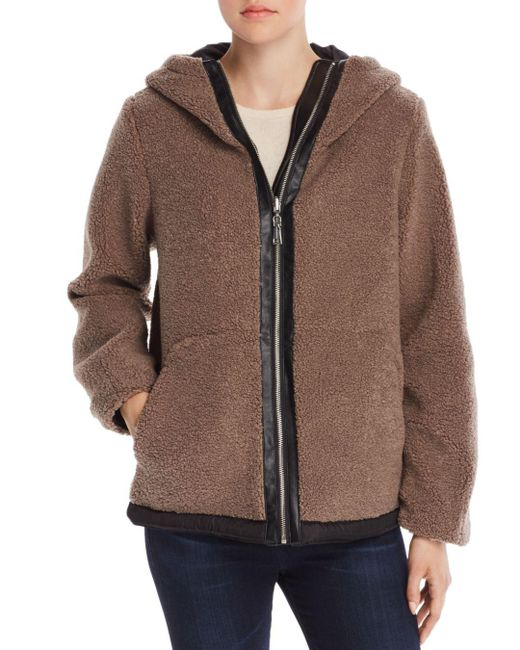 Vince Camuto - Brown Hooded Faux Fur Zip-front Teddy Jacket - Lyst