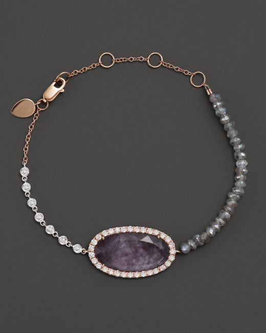 Meira T - Pink 14k Rose Gold Rough Amethyst Beaded Bracelet With Diamonds - Lyst