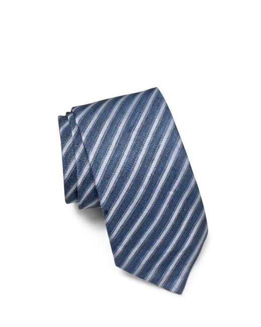 John Varvatos - Blue Linen Stripe Classic Tie for Men - Lyst