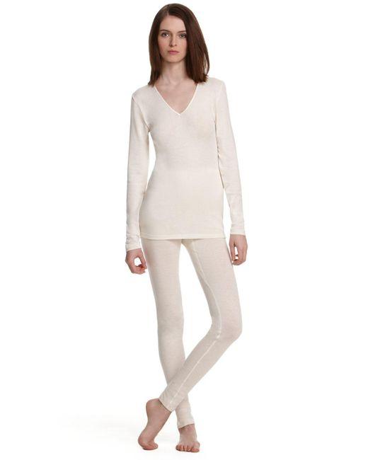 Hanro   Natural Woolen Silk Basic Long Sleeve Shirt   Lyst