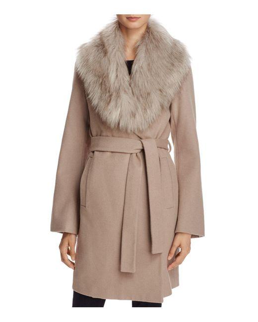 T Tahari | Brown Flora Faux Fur-trim Wrap Coat | Lyst