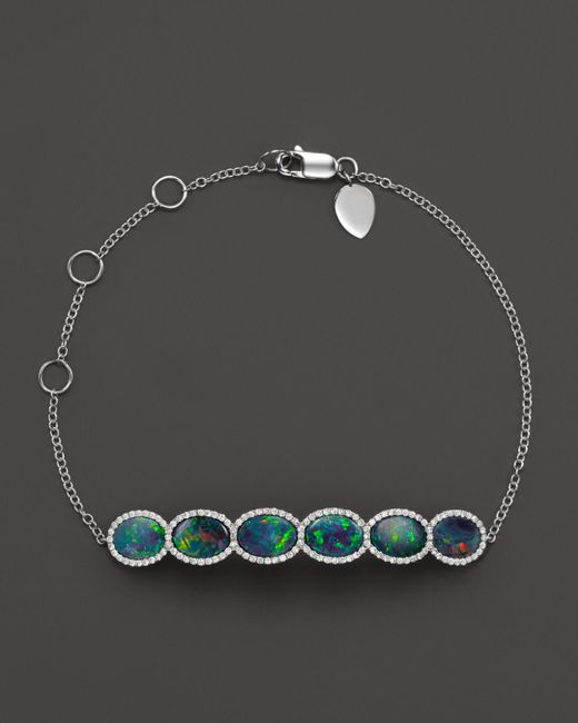 Meira T - Blue 14k White Gold 6 Stone Opal Bracelet - Lyst