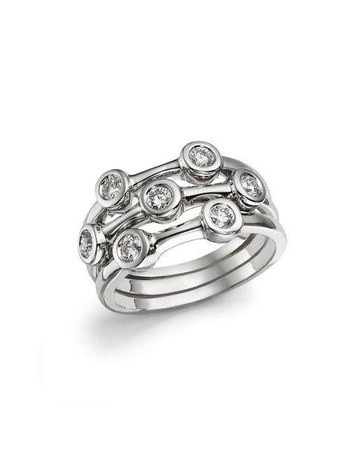 Roberto Coin - Metallic 18k White Gold Diamond Bezel Ring - Lyst
