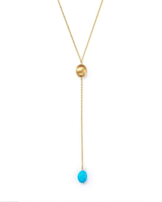"Bloomingdale's - Metallic Turquoise Nugget Y-necklace In 14k Yellow Gold, 18"" - Lyst"