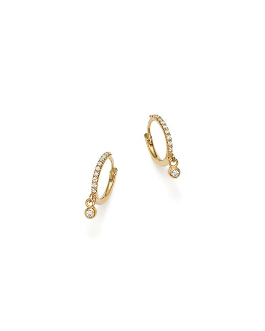 Zoe Chicco - Metallic 14k Yellow Gold Pavé Diamond Huggie Hoop Earrings With Diamond Bezel Charms - Lyst