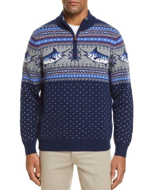 Vineyard Vines - Blue Marlin Pattern Quarter-zip Sweater for Men - Lyst