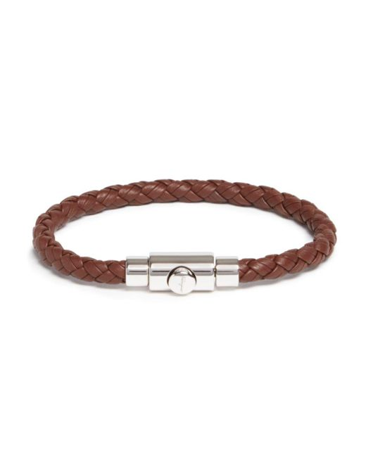 Ferragamo - Brown Woven Bracelet With Prong Closure for Men - Lyst