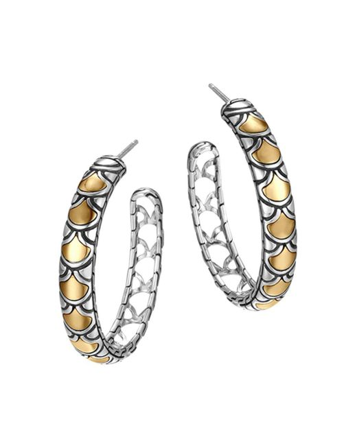 John Hardy - Metallic Sterling Silver & 18k Gold Naga Medium Hoop Earrings - Lyst