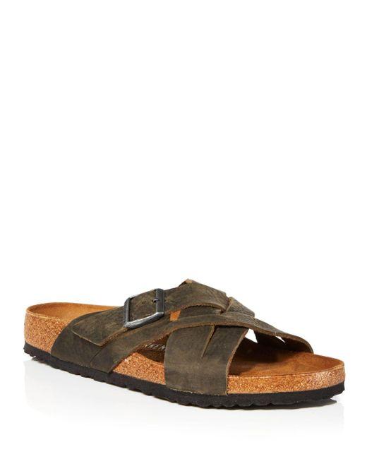 Birkenstock Green Lugano Slip On Woven Strap Sandals for men