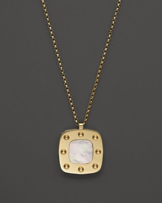 Roberto Coin Metallic 18k Yellow Gold And Mother - Of - Pearl Pois Moi Pendant Necklace