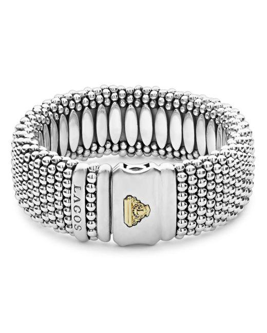 Lagos Metallic Sterling Silver Caviar Wide Bracelet