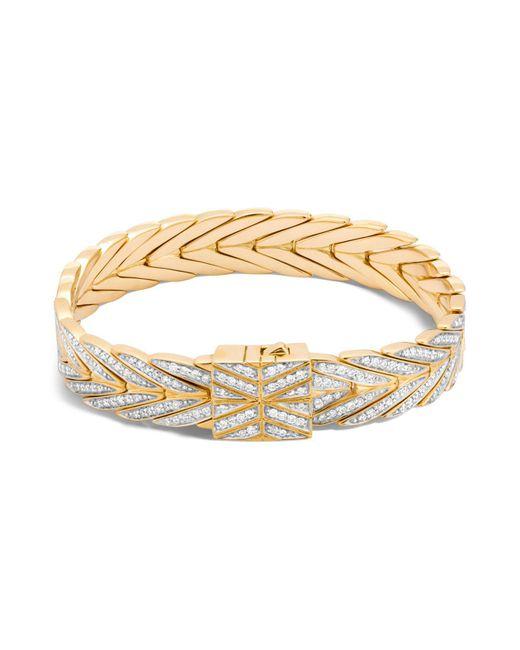 John Hardy   Metallic 18k Yellow Gold Modern Chain Bracelet With Diamonds   Lyst
