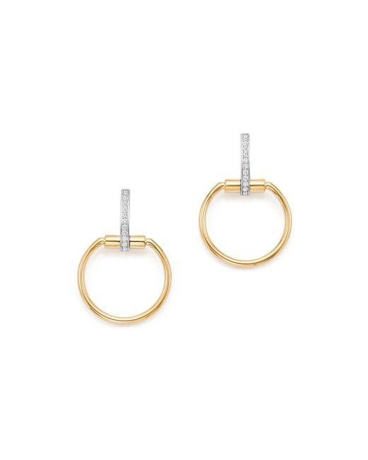 Roberto Coin | Metallic 18k Yellow & White Gold Classic Parisienne Diamond Small Round Earrings | Lyst