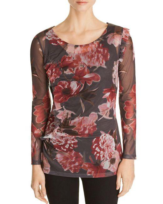 Love Scarlett - Shirred Floral Mesh Top - Lyst