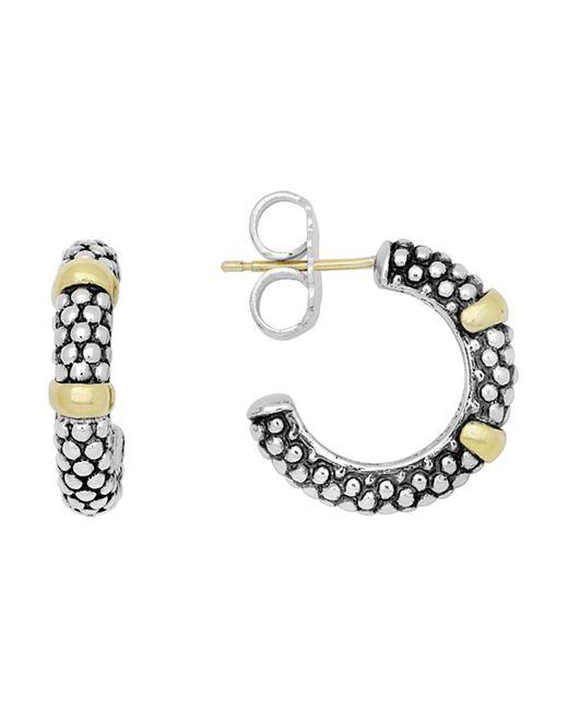Lagos | Metallic 18k Gold And Sterling Silver Caviar Beaded Hoop Earrings | Lyst