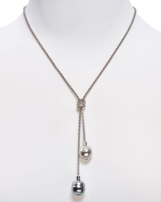"Majorica   Metallic Loveknot Lariat Necklace, 16""   Lyst"
