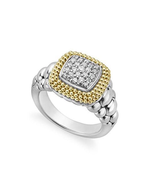 Lagos - Metallic Diamond Lux Square Ring - Lyst