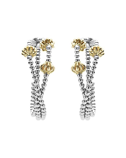Lagos - Metallic 18k Gold And Sterling Silver Caviar Icon Hoop Earrings - Lyst
