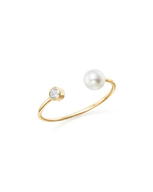 Zoe Chicco | Metallic 14k Yellow Gold Diamond Bezel And Cultured Freshwater Pearl Bypass Ring | Lyst