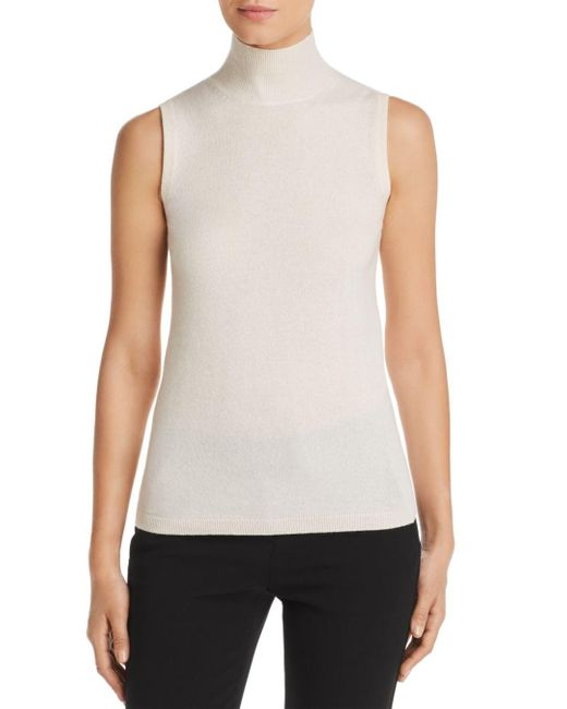 C By Bloomingdale's White Sleeveless Cashmere Sweater