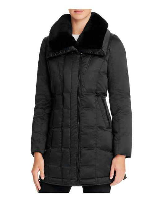 Trina Turk | Black Adrianna Rabbit Fur Trim Down Coat | Lyst
