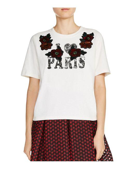 "Maje | White Toulouse ""i (heart) Paris"" Tee | Lyst"