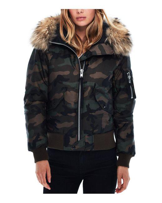 Sam.   Multicolor Jenny Camo Fur Trim Puffer Bomber Jacket   Lyst