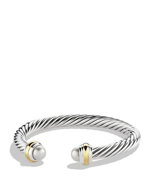 David Yurman - White Cable Classics Bracelet With Pearls And Gold - Lyst
