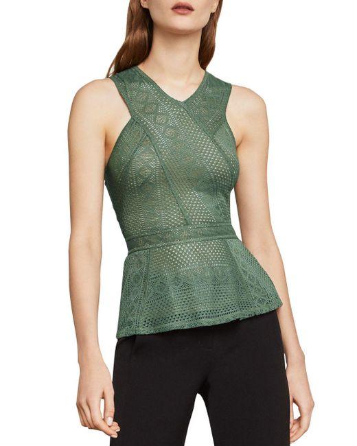 BCBGMAXAZRIA - Green Hanne Peplum Lace Top - Lyst
