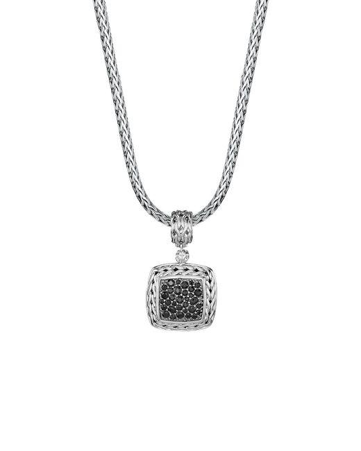 John Hardy   Metallic Sterling Silver Classic Chain Medium Square Pendant With Black Sapphire   Lyst