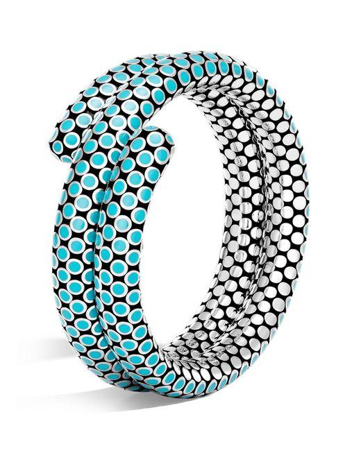 John Hardy | Blue Sterling Silver Dot Double Coil Bracelet In Turquoise | Lyst